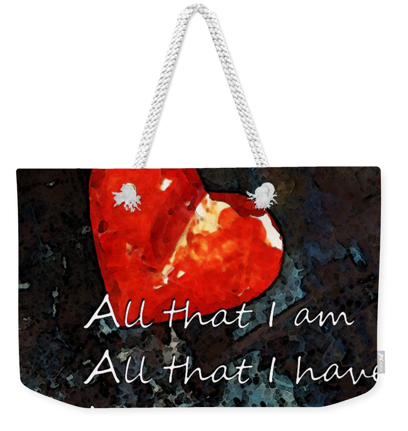 Heart Weekender Tote Bag featuring the painting My All - Love Romantic Art Valentine's Day by Sharon Cummings