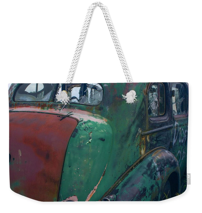 Car Weekender Tote Bag featuring the photograph My But You Have Let Yourself Go by Jean Noren