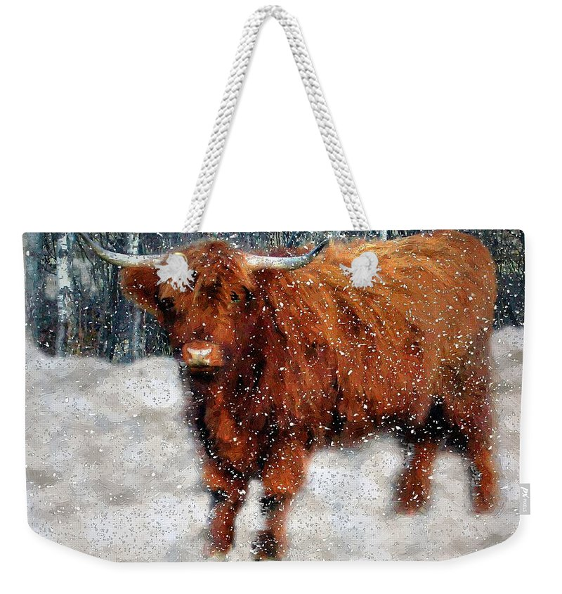 Bull Weekender Tote Bag featuring the painting My Feets Are Cold by RC DeWinter