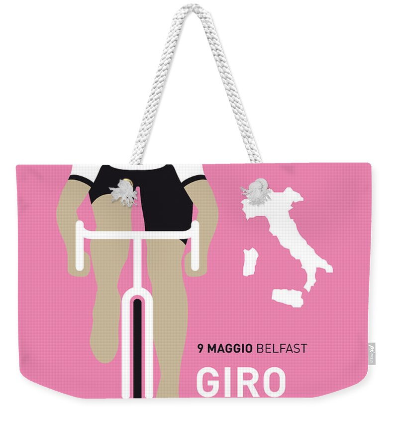 Minimal Weekender Tote Bag featuring the digital art My Giro D Italia Minimal Poster 2014 by Chungkong Art