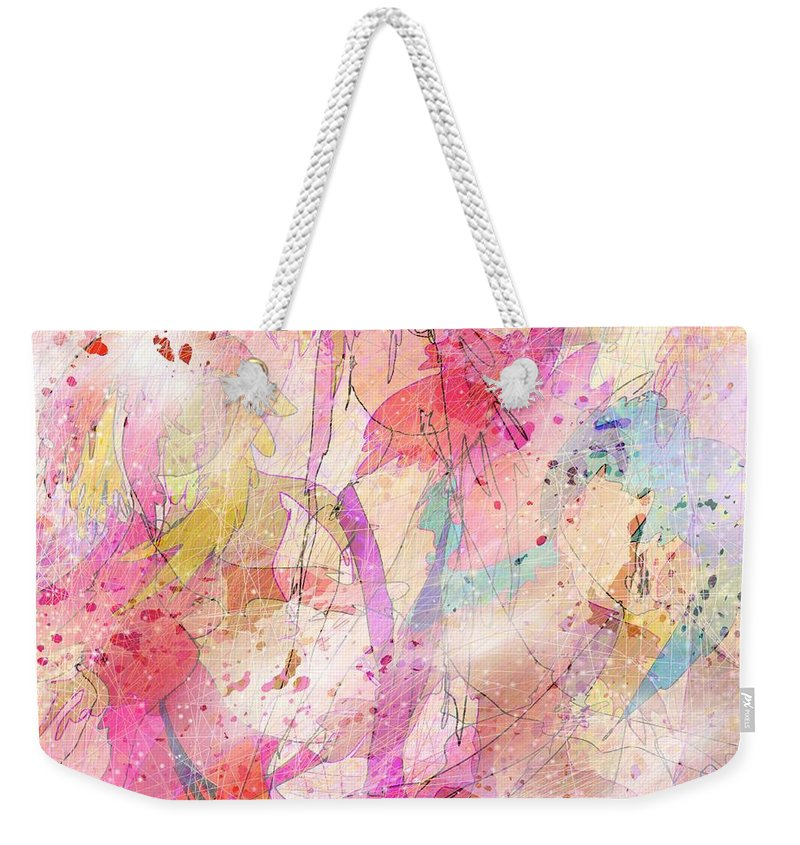 Abstract Weekender Tote Bag featuring the digital art My Imaginary Friends by Rachel Christine Nowicki