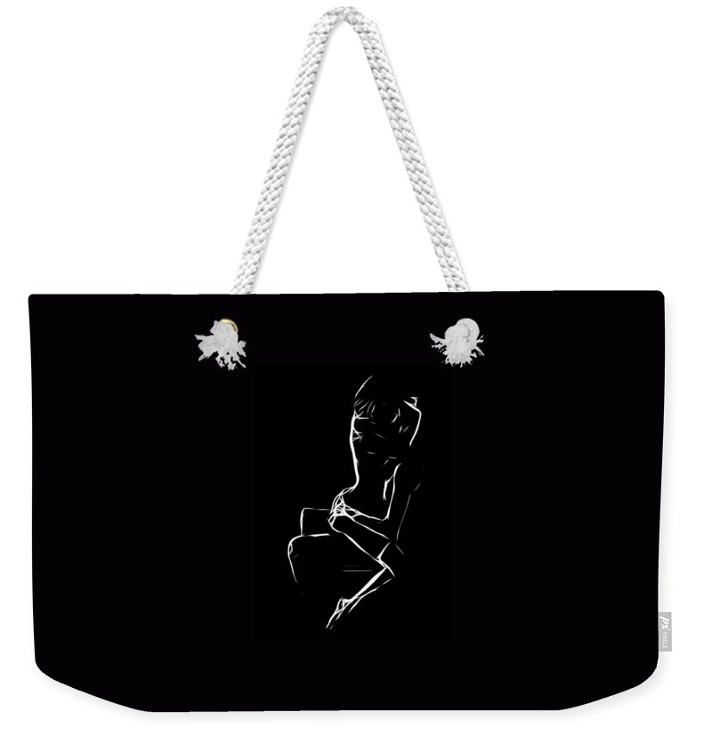 Love Lovers Man Woman Sexual Sex Boobs Breast Tits Nude Female Male Orgasm Weekender Tote Bag featuring the painting My Lover by Steve K
