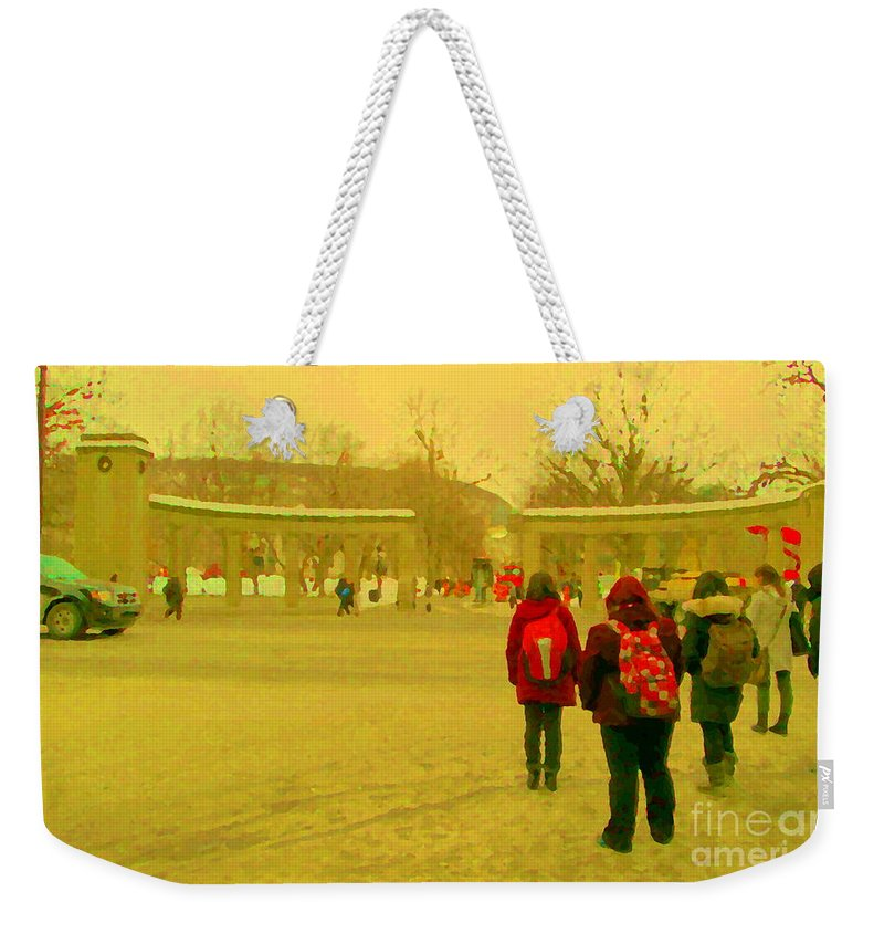 Weekender Tote Bag featuring the painting My Old Alma Mater Mcgill University Golden Olden Days Montreal Memories City Scenes Carole Spandau by Carole Spandau
