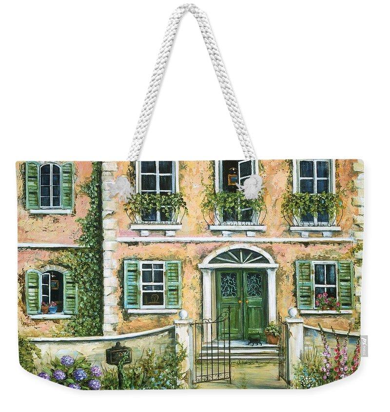 Europe Weekender Tote Bag featuring the painting My Pink Italian Villa by Marilyn Dunlap