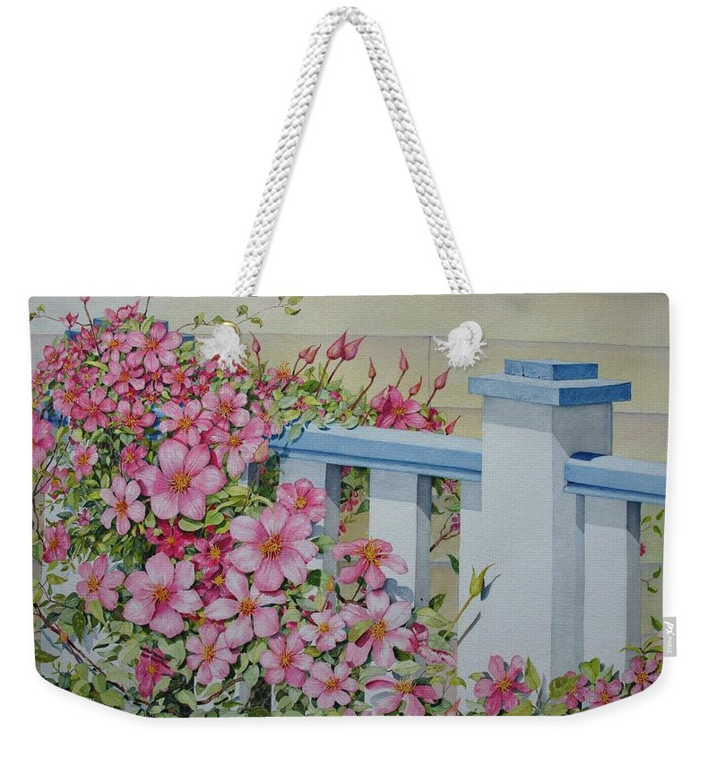 Florals Weekender Tote Bag featuring the painting My Porch Railing by Mary Ellen Mueller Legault