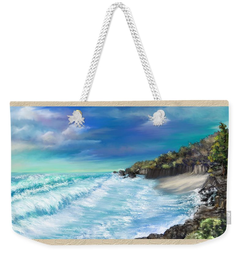 Ocean Weekender Tote Bag featuring the painting My Private Ocean by Susan Kinney