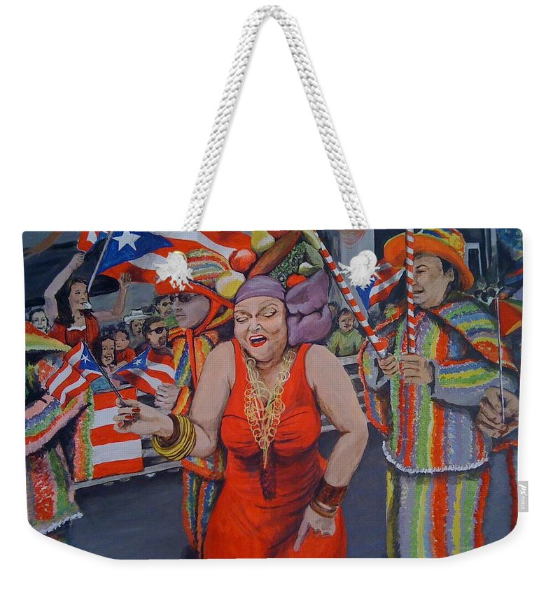 Parade Weekender Tote Bag featuring the painting My Puerto Rican Parade by Denniza Colon-Matarelli