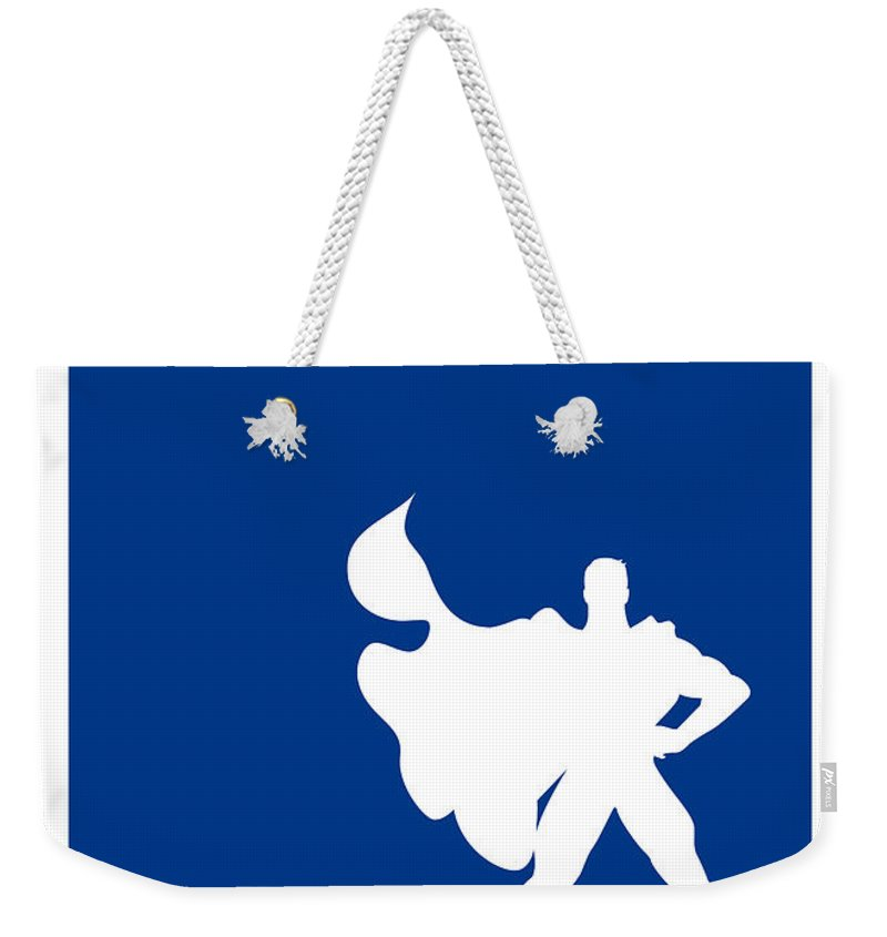 Superheroes Weekender Tote Bag featuring the digital art My Superhero 03 Super Blue Minimal Poster by Chungkong Art