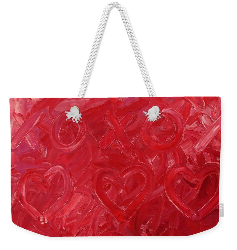 Abstract Weekender Tote Bag featuring the painting My Valentine by David Mayeau