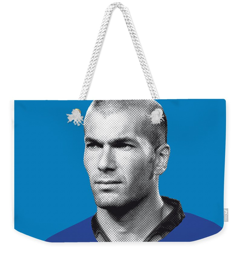 Beckenbauer Weekender Tote Bag featuring the digital art My Zidane Soccer Legend Poster by Chungkong Art