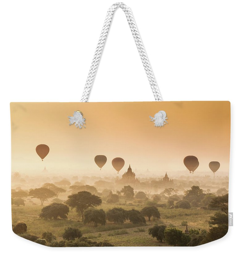 Tranquility Weekender Tote Bag featuring the photograph Myanmar Burma - Balloons Flying Over by 117 Imagery