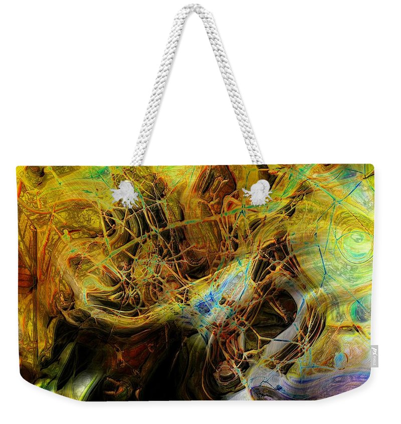 Abstract Weekender Tote Bag featuring the photograph Mycelium Scene by Richard Thomas