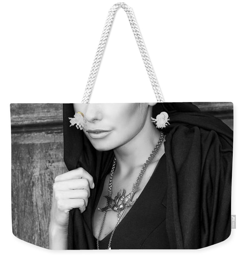 Blonde Weekender Tote Bag featuring the photograph Mysterious Obsession Bw Palm Springs by William Dey