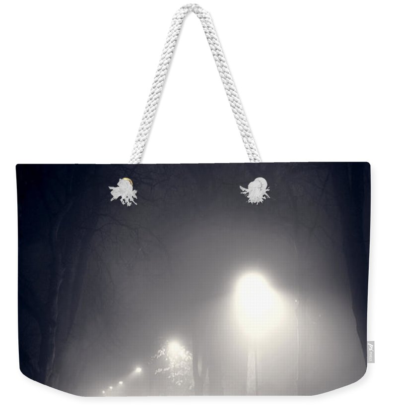 Man Weekender Tote Bag featuring the photograph Mystery Man In Fog by Lee Avison