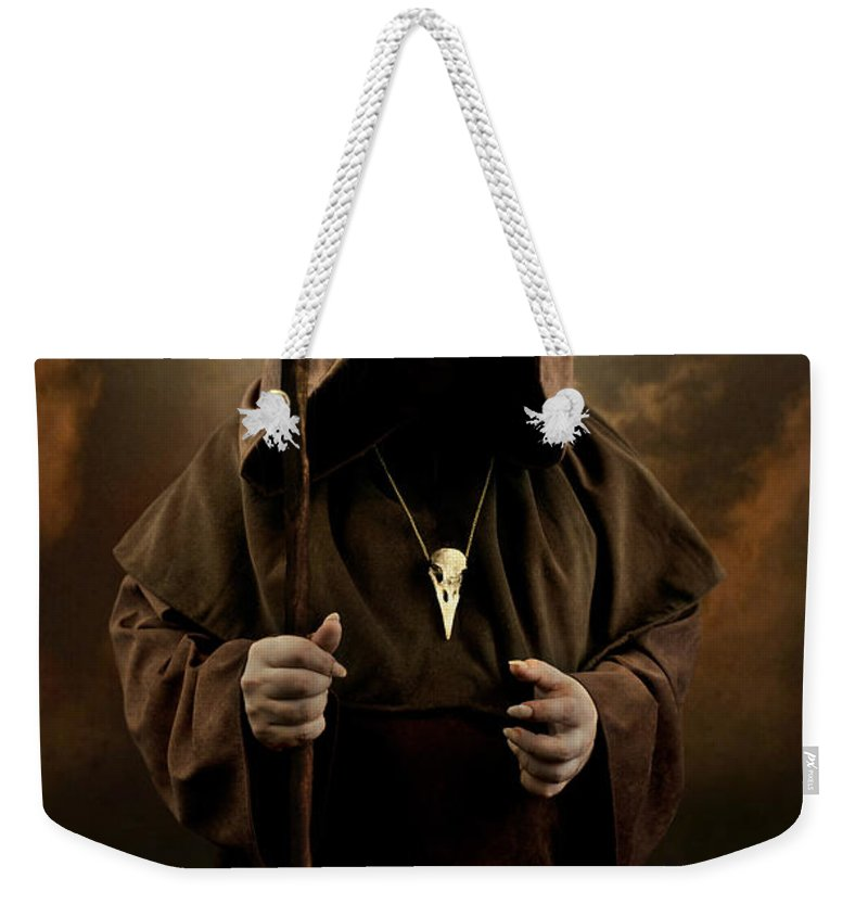 Mystery Man Wearing Cloak With Hood Bird Skull Pendant Holding A Wooden Wizard Staff Weekender Tote Bag