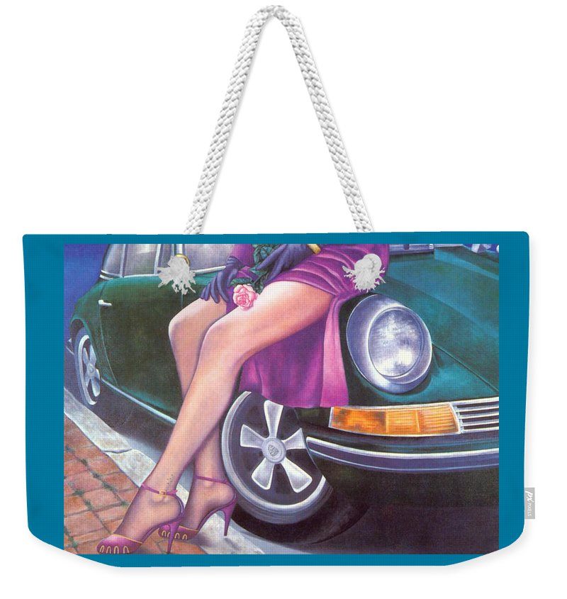 Feminine Weekender Tote Bag featuring the painting Mystery On Peter's Porsche by Mary Ann Leitch