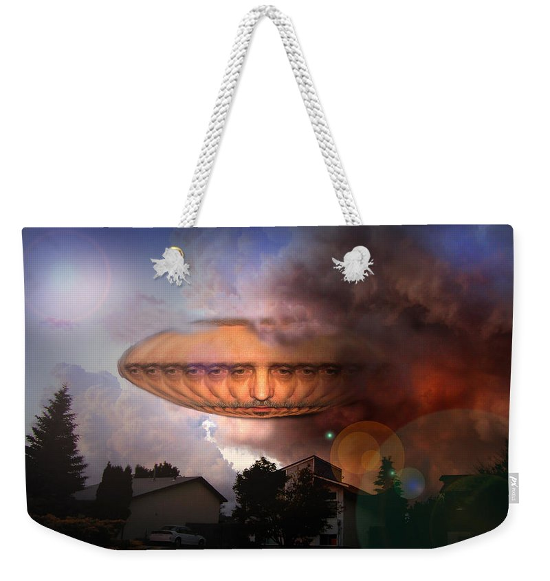 Surrealism Weekender Tote Bag featuring the digital art Mystic Ufo by Otto Rapp
