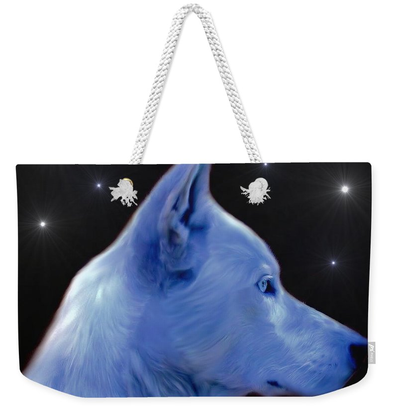 Mystical Wolf Weekender Tote Bag featuring the digital art Mystical Wolf by Maria Urso