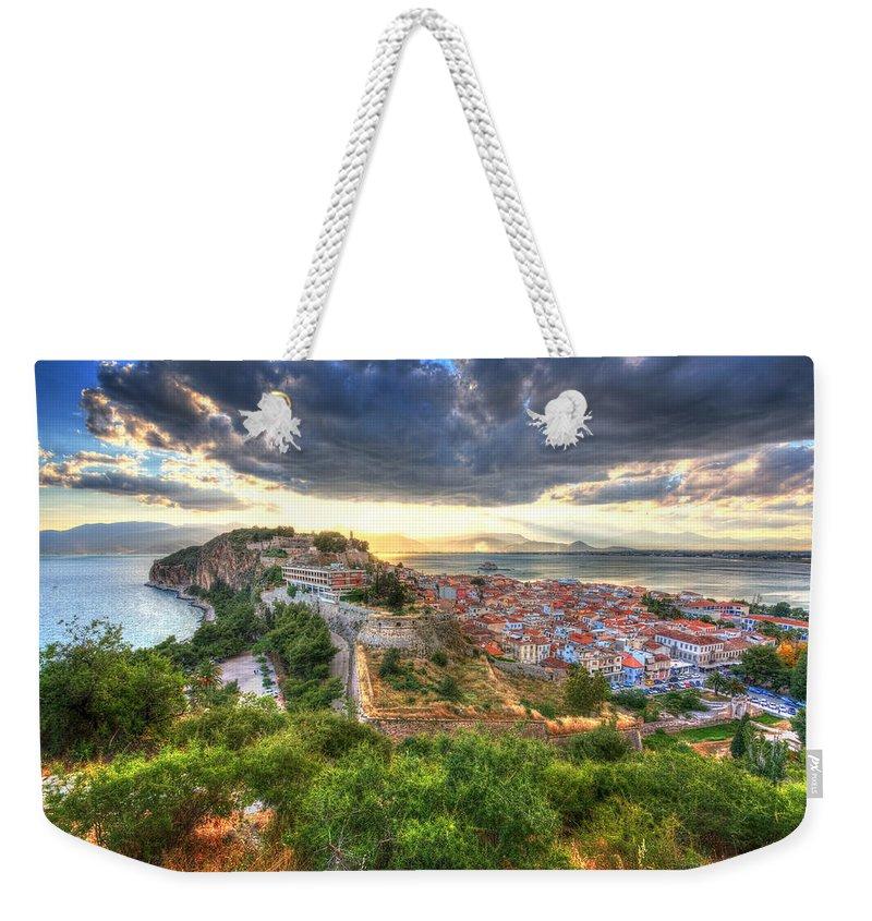 Mediterranean Weekender Tote Bag featuring the photograph Nafplion by Milan Gonda