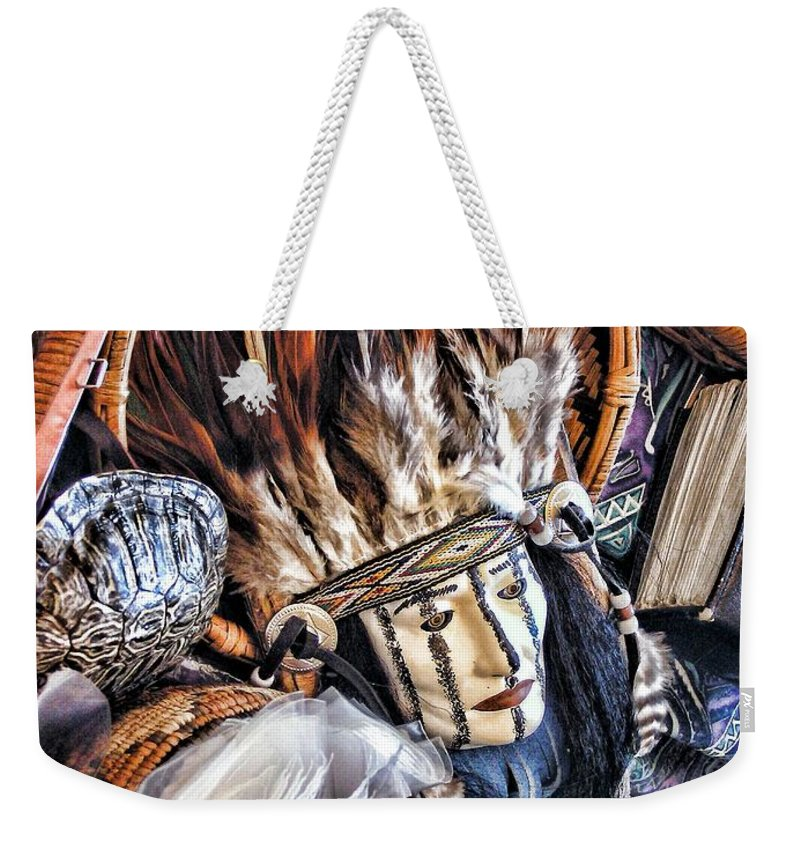 Native American Weekender Tote Bag featuring the photograph Naive American Mask by Shannon Story