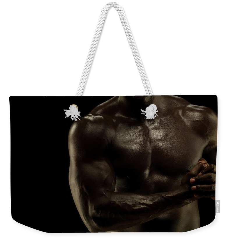 Toughness Weekender Tote Bag featuring the photograph Naked Athletic Male,detail Muscular by Jonathan Knowles