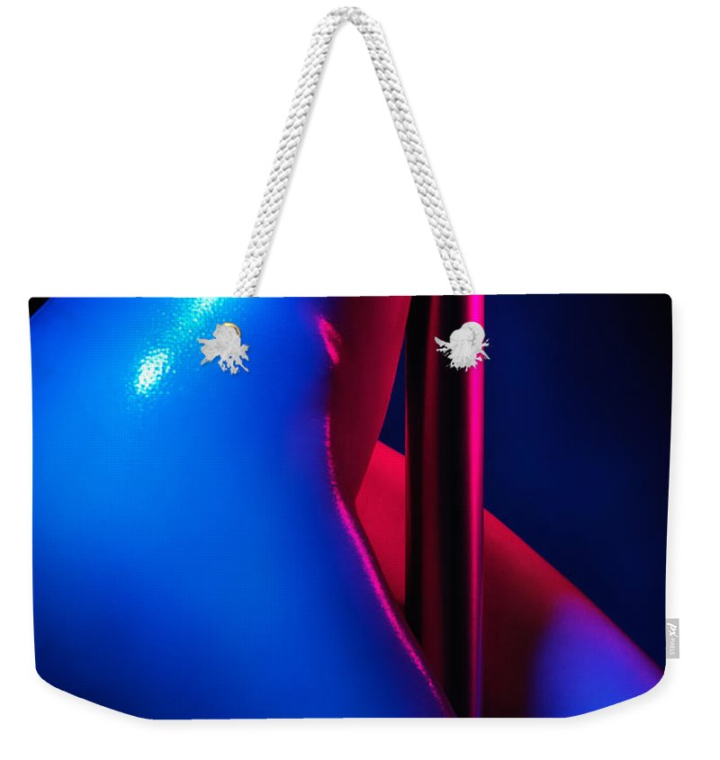 Nude Weekender Tote Bag featuring the photograph Naked Woman Pole Dancing Closeup Of Nude Body by Oleksiy Maksymenko