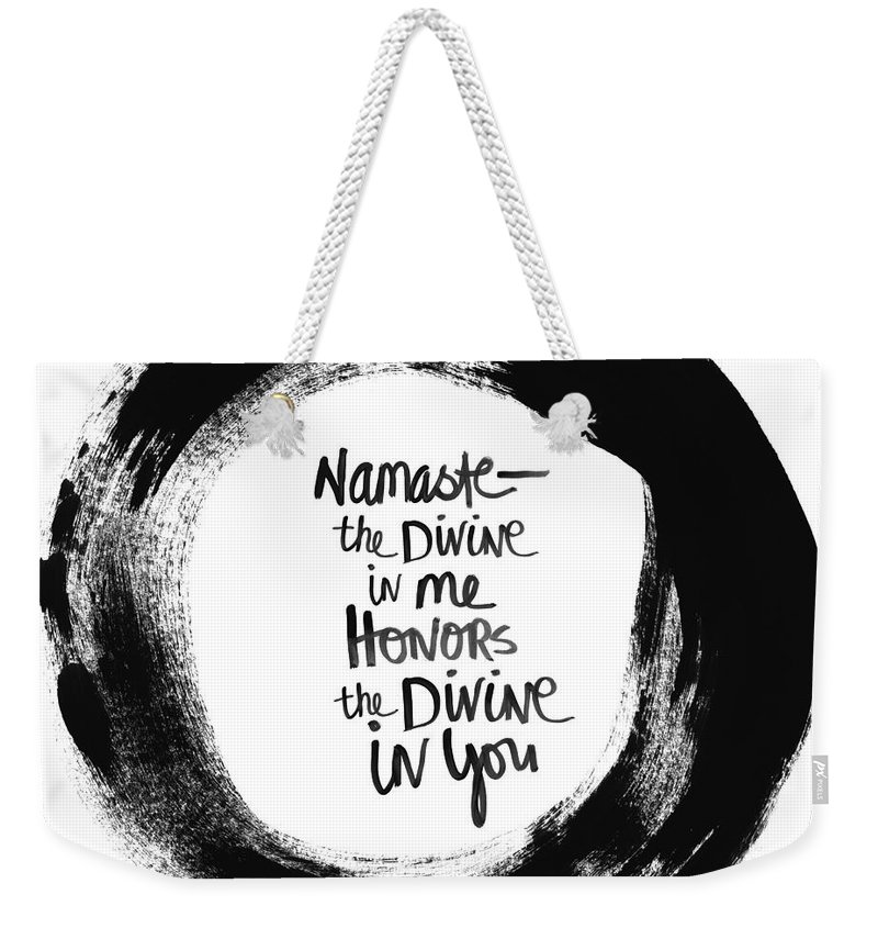 Circle Weekender Tote Bag featuring the painting Namaste Enso by Linda Woods