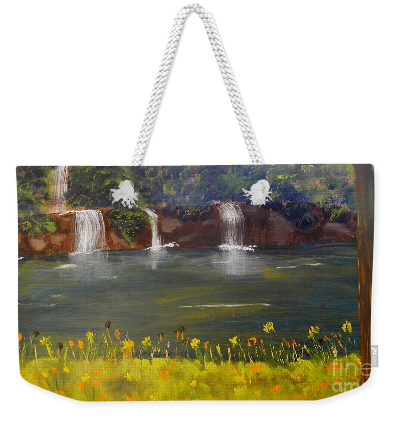 Impressism Weekender Tote Bag featuring the painting Nandroy Falls In Queensland by Pamela Meredith