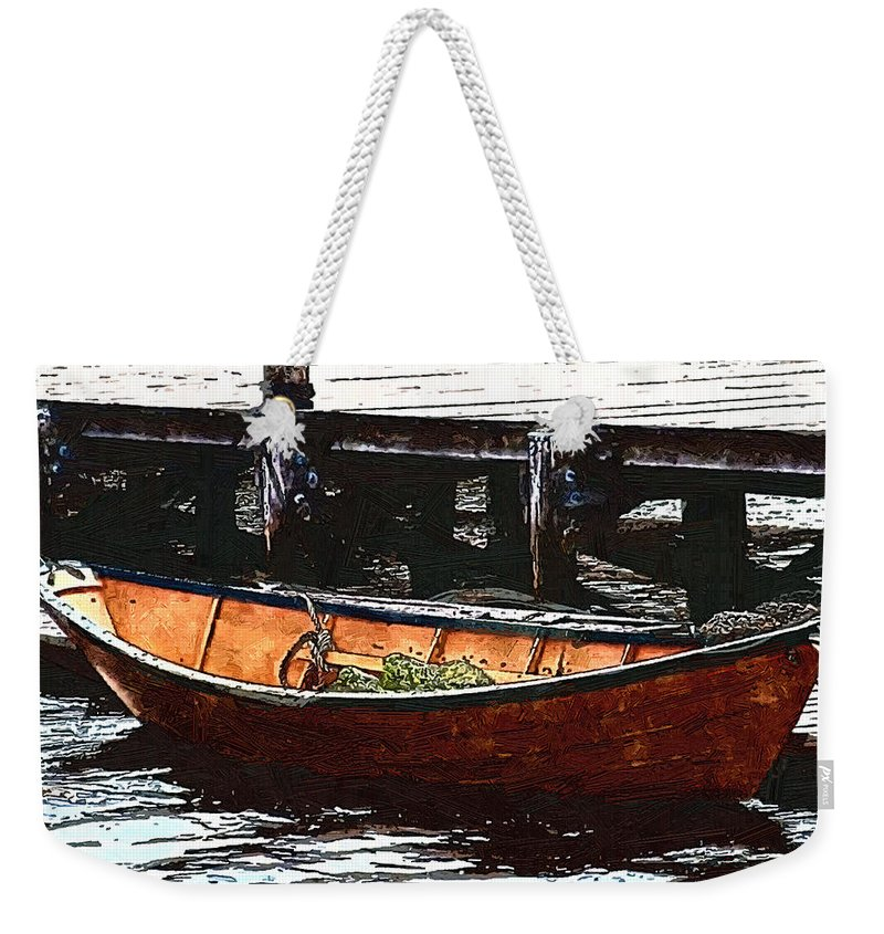 Boats Weekender Tote Bag featuring the painting Nantucket Sleigh Ride Whaleboat by RC DeWinter