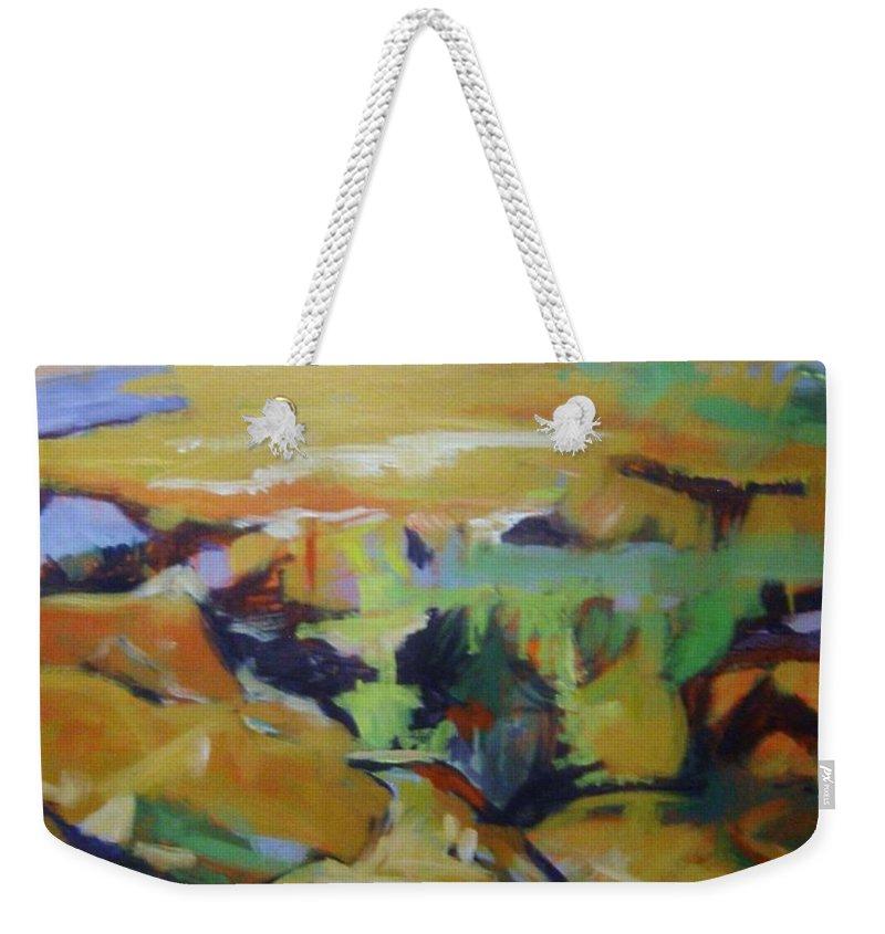 Winter Weekender Tote Bag featuring the painting Napa Valley Perriwinkle Sky by Rebecca Lou Mudd