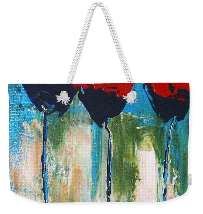 A Little Abstract Knife Painting To Depict A Napa Valley Red Poppy. Weekender Tote Bag featuring the painting Napa Valley Red Poppys by Rebecca Lou Mudd
