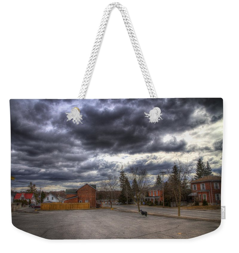 Exterior Weekender Tote Bag featuring the photograph Napanee Sky Easter by John Herzog