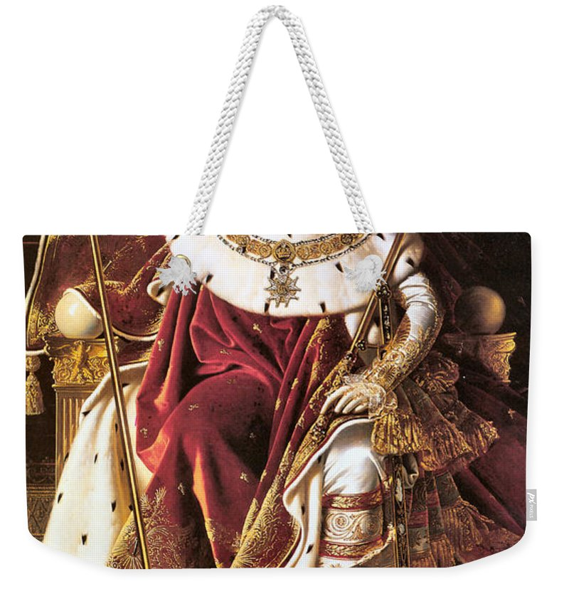 Jean Auguste Dominique Ingres Weekender Tote Bag featuring the digital art Napoleon I On His Imperial Throne by Jean Auguste Dominique Ingres