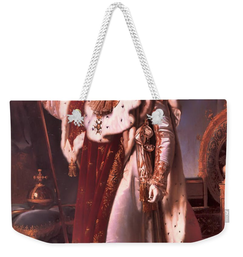 Napoleon Bonaparte Weekender Tote Bag featuring the painting Napoleon In His Coronation Robes by Mountain Dreams
