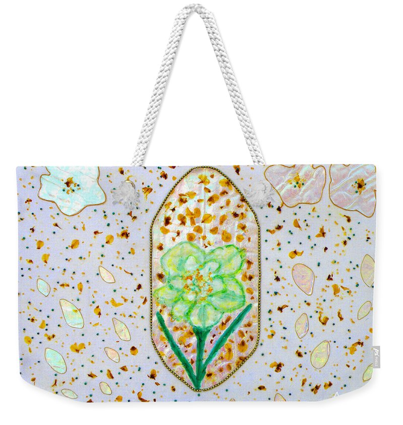 Augusta Stylianou Weekender Tote Bag featuring the painting Narcissus Flower Petals by Augusta Stylianou