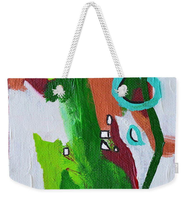 Modern Weekender Tote Bag featuring the painting Narrow Escape by Donna Blackhall