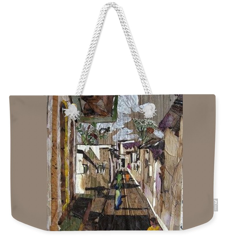 Street Scene Weekender Tote Bag featuring the mixed media Narrow Street by Basant Soni