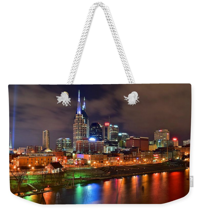 Nashville Weekender Tote Bag featuring the photograph Nashville Is A Colorful Town by Frozen in Time Fine Art Photography