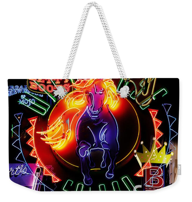 Houses Weekender Tote Bag featuring the painting Nashville Nights by Neil Finnemore