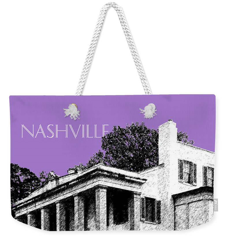 Architecture Weekender Tote Bag featuring the digital art Nashville Skyline Belle Meade Plantation - Violet by DB Artist