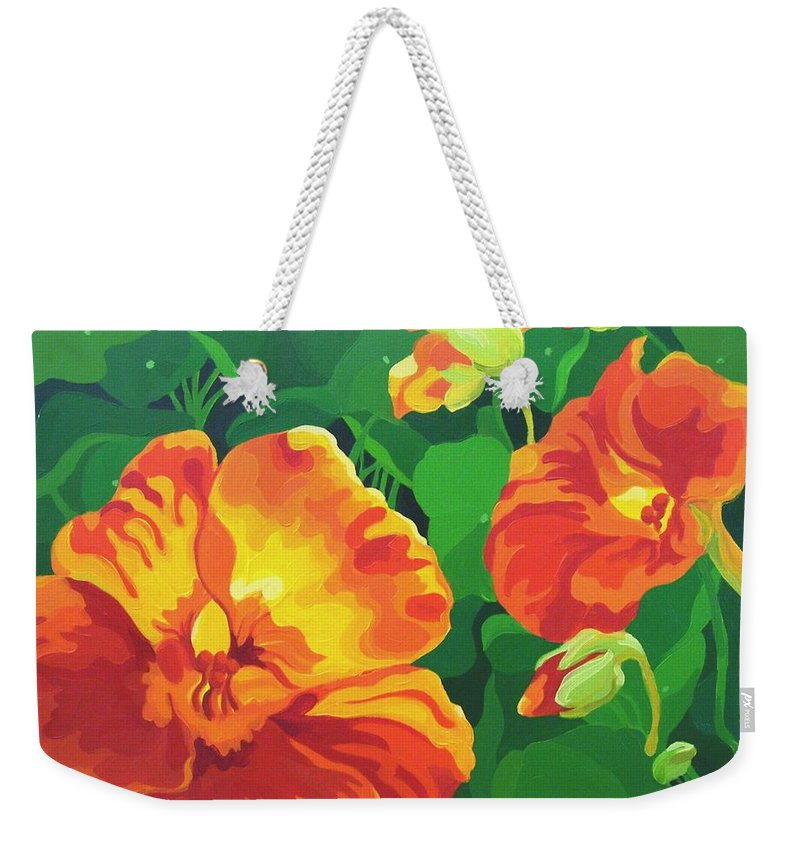 Flower Paintings Weekender Tote Bag featuring the painting Nasturtiums by Karen Ilari