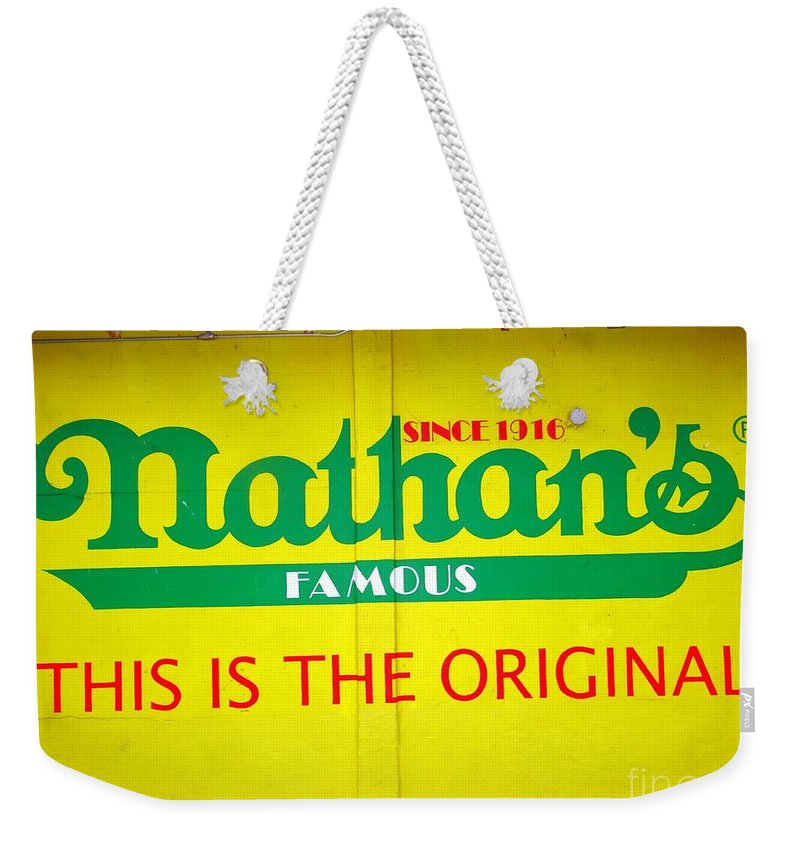 Hot Dogs Weekender Tote Bag featuring the photograph Nathan's Famous by Ed Weidman