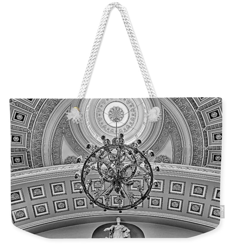 Architecture Weekender Tote Bag featuring the photograph National Statuary Hall Bw by Susan Candelario