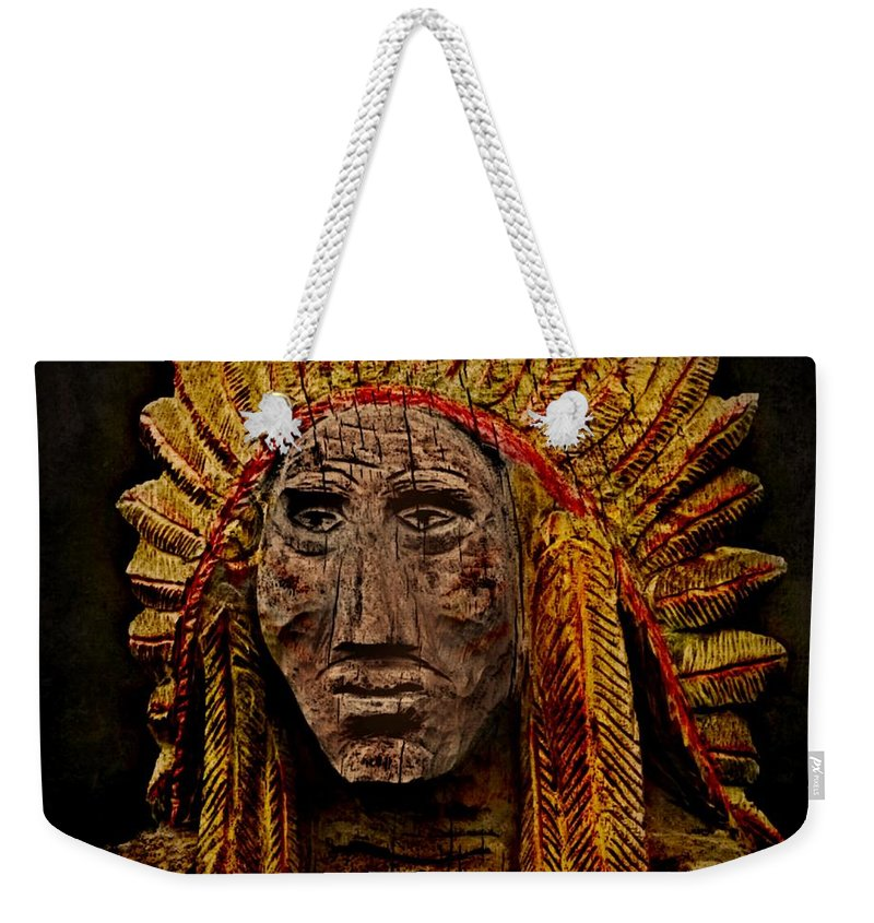 Native American Weekender Tote Bag featuring the photograph Native American In Wood 1886 by David Dehner