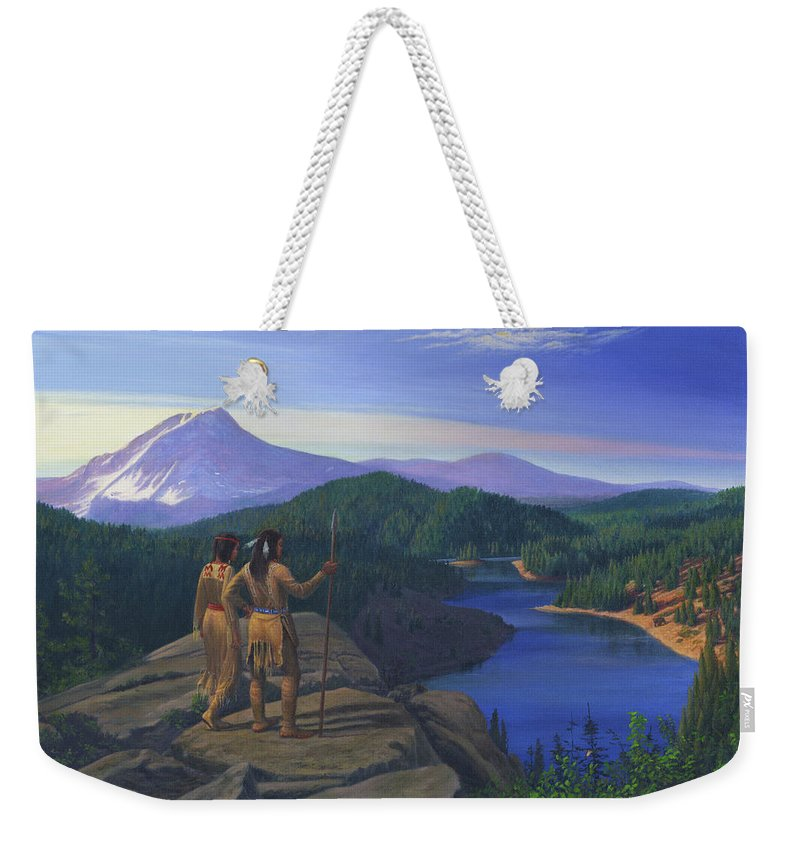 Native American Indians Weekender Tote Bag featuring the painting Native American Indian Maiden And Warrior Watching Bear Western Mountain Landscape by Walt Curlee