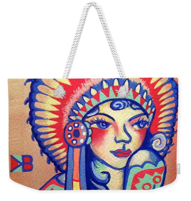 Native Weekender Tote Bag featuring the painting Native Girl by Britt Kuechenmeister
