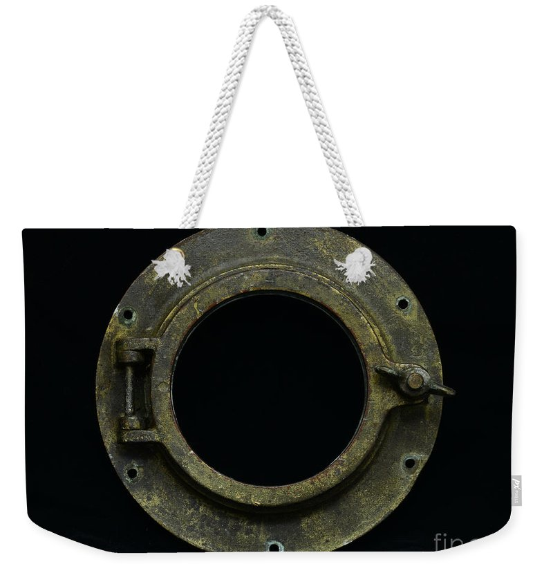 Brass Weekender Tote Bag featuring the photograph Natuical - Brass Porthole by Paul Ward