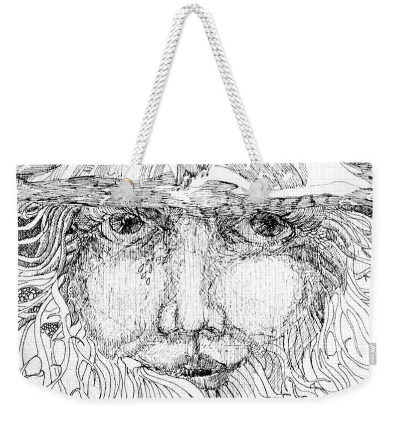 Drawing Weekender Tote Bag featuring the drawing Nature Girl by Lizi Beard-Ward
