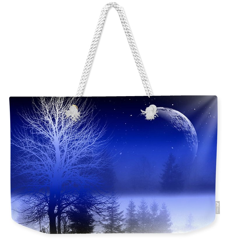 Nature Weekender Tote Bag featuring the digital art Nature In Blue by Mark Ashkenazi