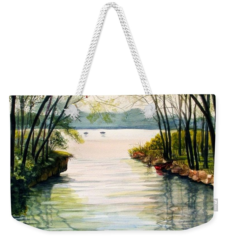 Landscape Weekender Tote Bag featuring the painting Nature's Cathedral by Marilyn Smith